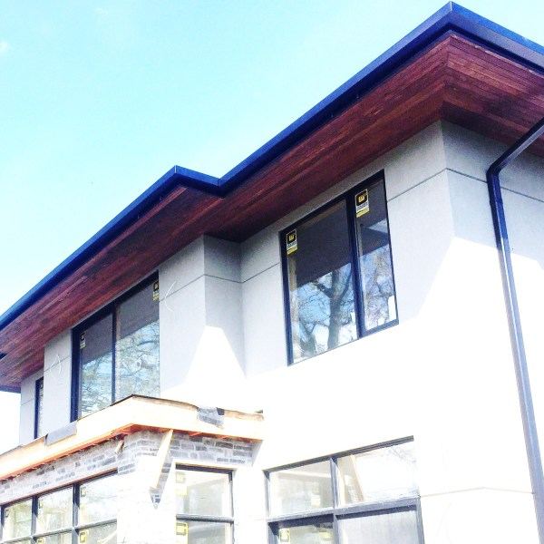 Black eaves and ceder soffits