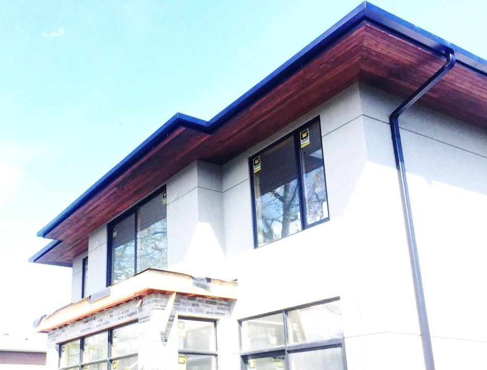 Black eaves and ceder soffits