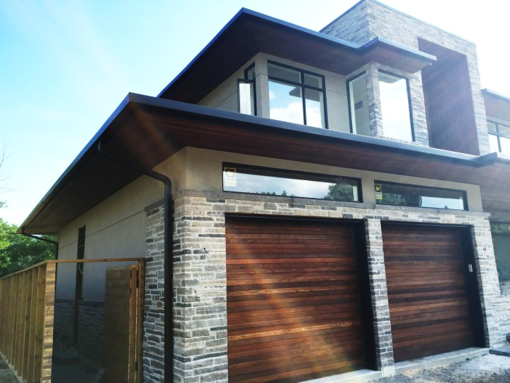 Ceder soffits and square gutters
