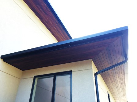 Mitered and stained ceder soffits