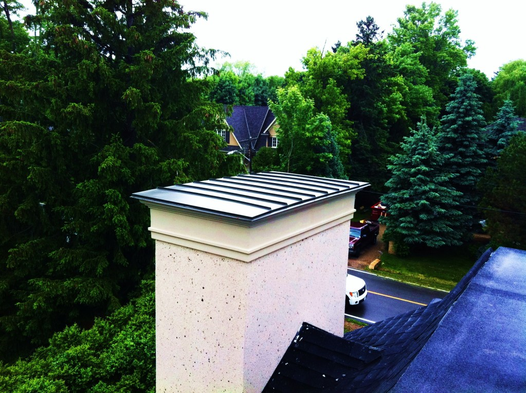 Custom aluminum work on a chimney